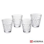 《ADERIA》日本進口透明格紋啤酒杯4件套組290ml(S-6053)