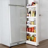 《收納家》12.5cm五層式細縫櫃收納架-附滑輪(白色)