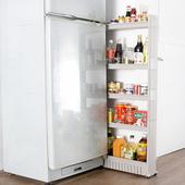 《收納家》12.5cm五層式細縫櫃收納架-附滑輪(灰色)