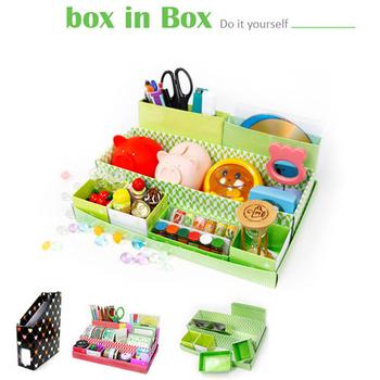 生活大師 手工DIY摺疊收納盒(可愛紅+草地綠)