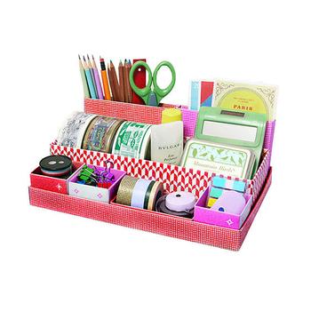 生活大師 手工DIY摺疊收納盒(可愛紅+愛心黑)