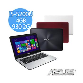 ASUS X455LF 14吋 i5-5200U NV930 2G獨顯 1TB效能獨顯筆電(X455LF-0113F5200U紅)