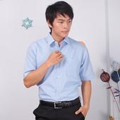 《JIA HUEI》短袖柔挺領防皺襯衫海島棉 藍色 [台灣製造](16)