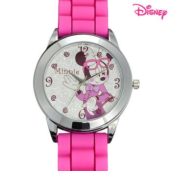Disney迪士尼 俏米妮馬卡龍休閒腕錶(俏桃紅)