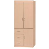 《時尚屋》立德3x7尺衣櫥(白橡色)