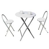 《頂堅》[耐重型]折疊桌椅組(一桌二椅)(素雅白色)