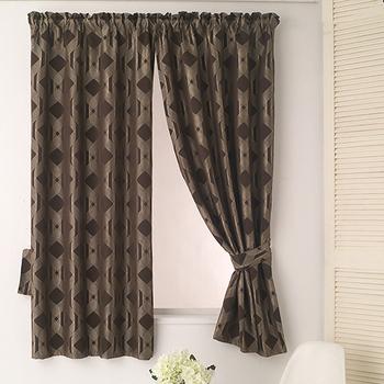 巴芙洛 米勒咖啡色緹花半腰遮光窗簾(200×165cm)