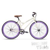 《BIKEONE》V3 簡約時尚淑女款 單速車(白紫)