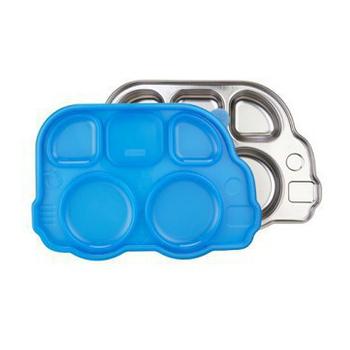 韓國 不銹鋼兒童餐具 巴士餐盤(Din Din SMART?)(藍色)