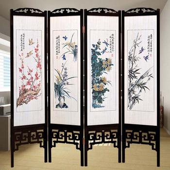 《時尚屋》中國風國畫四季花彩色雙面屏風(胡桃色)