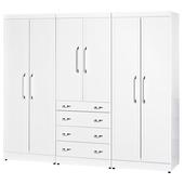 《時尚屋》福特純白8尺衣櫥