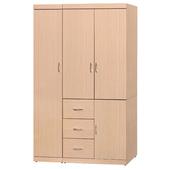 《時尚屋》立德4x6尺衣櫥(白橡色)