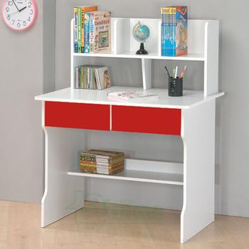 ★結帳現折★Frama 伊里斯雙抽層架式書桌(紅白)