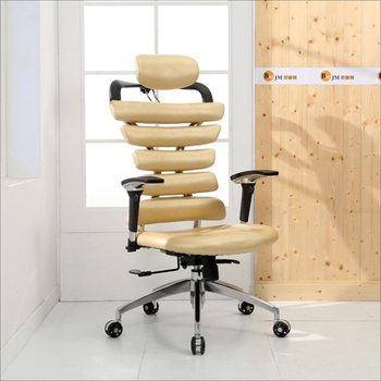 《BuyJM》亞力士造型皮面升降扶手鋁合金腳辦公椅(4色)(金色)