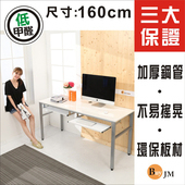《BuyJM》環保低甲醛鏡面160公分穩重型雙鍵盤工作桌/電腦桌/附電線孔(亮白色)