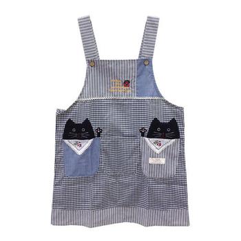 《SADOR莎朵創意雜貨》和風三口袋圍裙-黑貓