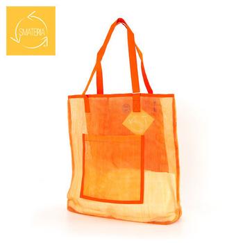Smateria海洋包 Net Beach Bag網質透明肩揹海灘包L(橘色)