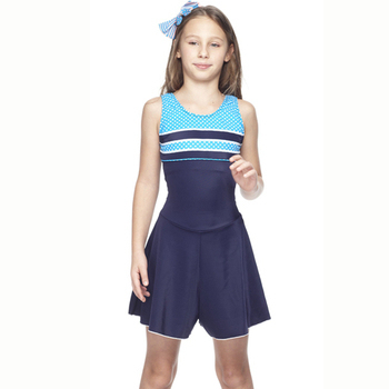 【SAIN SOU】 少女連身裙泳裝附泳帽A88413(M)