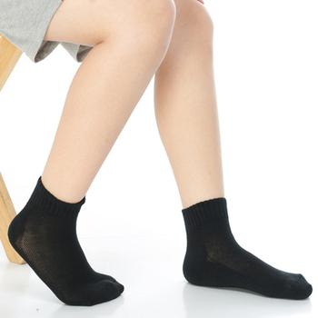 《【KEROPPA】》可諾帕7~12歲學童專用毛巾底氣墊短襪(4雙C93003黑色)