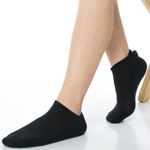 《【KEROPPA】》可諾帕細針毛巾底氣墊加大船襪(4雙(男女適用)C91001-黑色)