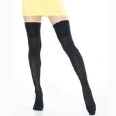 《【KEROPPA】》可諾帕流行膝上大腿女襪(條紋)(2雙(專利產品)92002-C62)