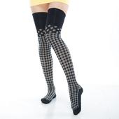 《【KEROPPA】》可諾帕流行膝上大腿女襪(格紋)(2雙(專利產品)C92002-C3)