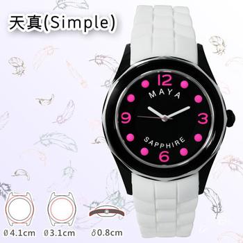MAYA M-11013/M-11014天真(Simple)俏麗靚亮繽紛彩系石英腕錶(大型:白色錶帶/桃字)