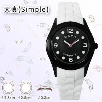MAYA M-11013/M-11014天真(Simple)俏麗靚亮繽紛彩系石英腕錶(小型:白色錶帶/白字)