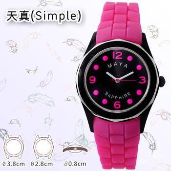 MAYA M-11013/M-11014天真(Simple)俏麗靚亮繽紛彩系石英腕錶(小型:桃色錶帶/桃字)