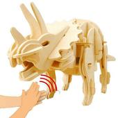 《Robotime機械恐龍系列》侏羅紀世界-聲控機械三角龍-3D 木片拼圖(個)