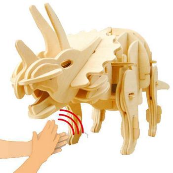 Robotime機械恐龍系列 侏羅紀世界-聲控機械三角龍-3D 木片拼圖(個)
