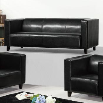 《AGNES 艾格妮絲》歐麗低背現代簡約風馬鞍皮沙發三人座(黑色)