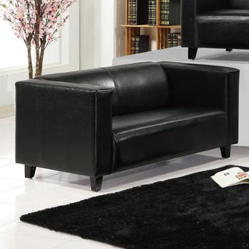 《AGNES 艾格妮絲》歐麗低背現代簡約風馬鞍皮沙發雙人座(四色可選)(黑色)