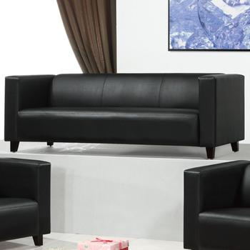 《AGNES 艾格妮絲》歐麗低背現代簡約風皮沙發三人座(三色可選)(黑色)