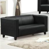 《AGNES 艾格妮絲》歐麗低背現代簡約風皮沙發雙人座(黑色)