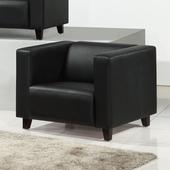 《AGNES 艾格妮絲》歐麗低背現代簡約風皮沙發單人座(三色可選)(黑色)