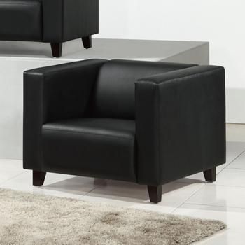 AGNES 艾格妮絲 歐麗低背現代簡約風皮沙發單人座(三色可選)(黑色)