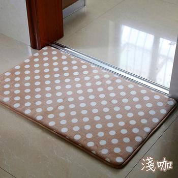 巴芙洛 柔軟圓點法蘭絨踏墊2片(45cm×65cm淺咖)