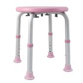 《舞動創意》輕量化鋁質可昇降浴室防滑洗澡椅-圓板凳(嫩粉紅)