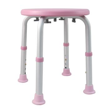 ★結帳現折★舞動創意 輕量化鋁質可昇降浴室防滑洗澡椅-圓板凳(嫩粉紅)