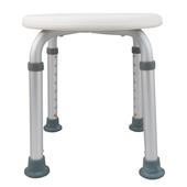 《舞動創意》輕量化鋁質可昇降浴室防滑洗澡椅-圓板凳(時尚白)