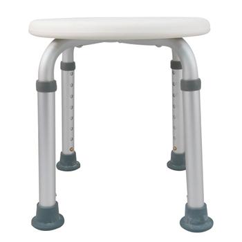 ★結帳現折★舞動創意 輕量化鋁質可昇降浴室防滑洗澡椅-圓板凳(時尚白)