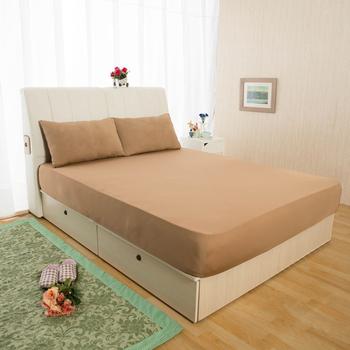 HomeBeauty 超長效激涼涼感床包-特大+枕套*2(涼感咖)