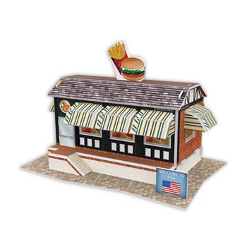 《4D手作紙雕》美國 - 漢堡店(個)