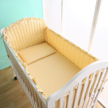 HomeBeauty 舒適精梳棉床圍套組六件式(粉黃)
