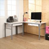 《BuyJM》低甲醛鏡面160+80公分L型穩重型雙抽屜工作桌(白色)