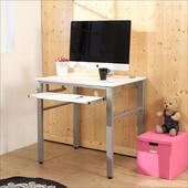 《BuyJM》低甲醛鏡面80公分穩重型單鍵盤電腦桌(白色)