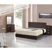 《AGNES 艾格妮絲》晶鑽臥室六件組合(床墊+床頭片+床底+鏡台+椅+床頭櫃)(胡桃色)