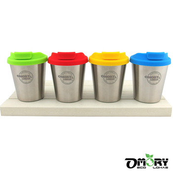 ★結帳現折★OMORY #304不鏽鋼雙層咖啡杯350ML-附蓋(4色)(綠)