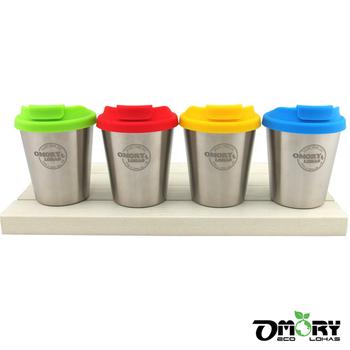 ★結帳現折★OMORY #304不鏽鋼雙層咖啡杯350ML-附蓋(4色)(藍)